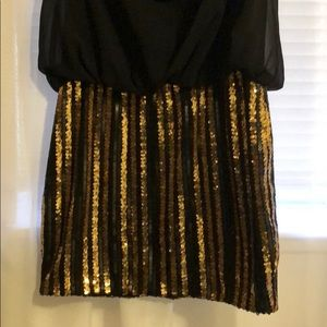 Black and gold mini dress